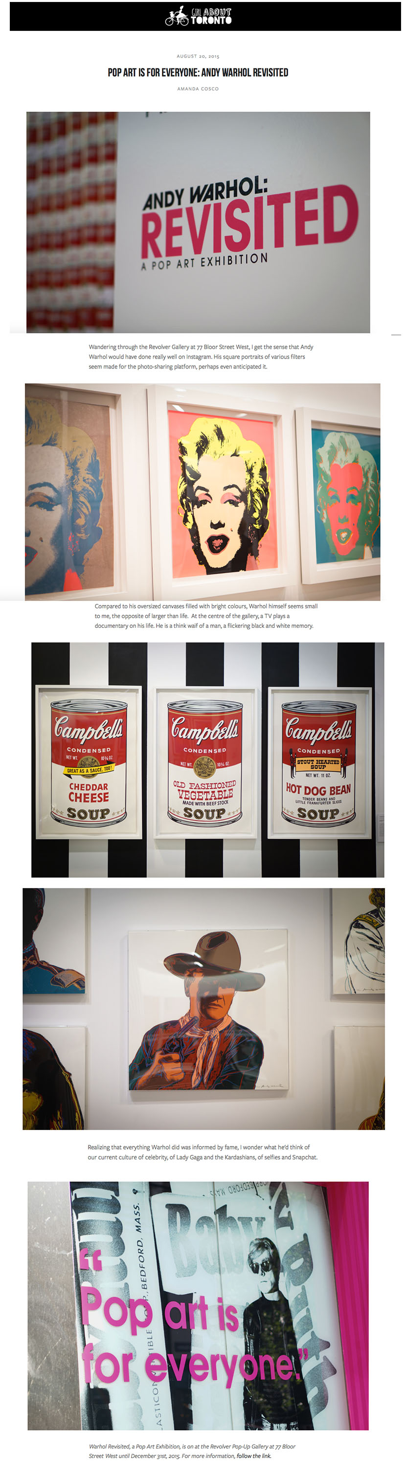 GIRL ABOUT TORONTO WARHOL REVISITED